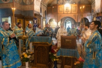 В день Отдания праздника Успения Пресвятой Богородицы митрополит Орловский и Болховский Тихон совершил литургию в Свято-Успенском монастыре Орла. 5 сентября 2020 г.
