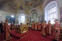 В канун Недели 6-й по Пасхе митрополит Орловский и Болховский Тихон совершил всенощное бдение в Ахтырском кафедральном соборе Орла. 5 июня 2021 г.